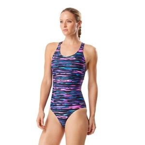 Speedo Print Muscle Back Fuchsia One Piece Swim